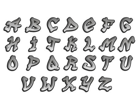 Graffity alphabet vector typeset