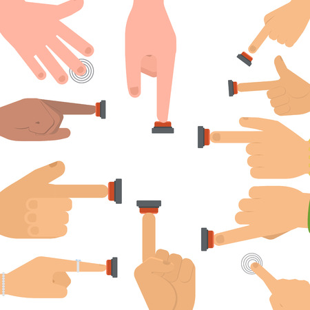Hand press red button vector illustration.