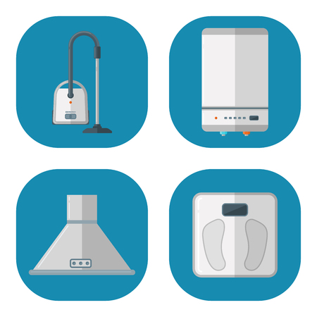 Home appliances vector domestic household equipment kitchen electrical domestic technology for homework tools illustration Illustration