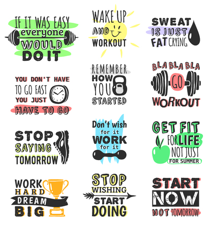 Sports motivational quotes vector set