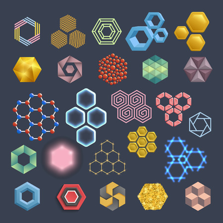 Vector hexagon icons design elements.