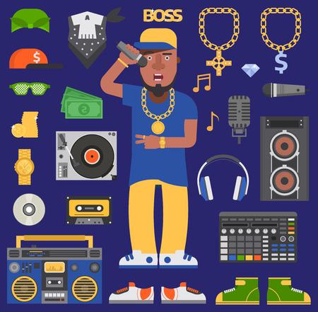 Hip hop raper vector man musician icons with microphone, break dance expressive rap artist portrait. Modern young hip-hop singer fashion person adult boy. Disco party maker dancer lifestyle. Illustration