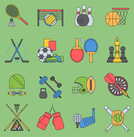 Sport games vector icons flat design table tennis sign. Sport icons football bowling set collection pictogram symbol. Game trophy competition hockey, chess, tennis, football, dumbbell activity. Illustration
