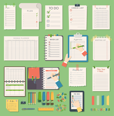 Vector notebook agenda business planner note. Meeting notebook plan work reminder agenda business note. Schedule calendar planner organizer agenda business books note appointment concept  イラスト・ベクター素材