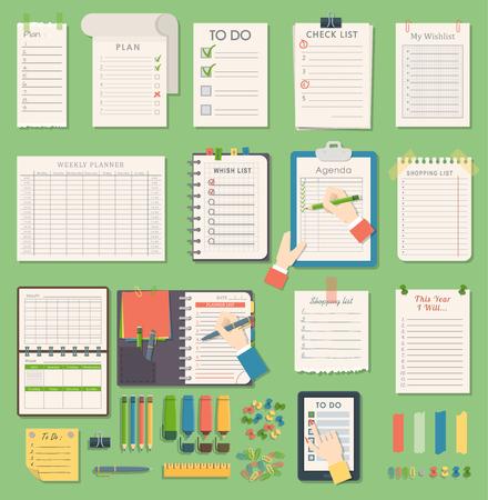 Vector notebook agenda business planner note. Meeting notebook plan work reminder agenda business note. Schedule calendar planner organizer agenda business books note appointment concept 일러스트