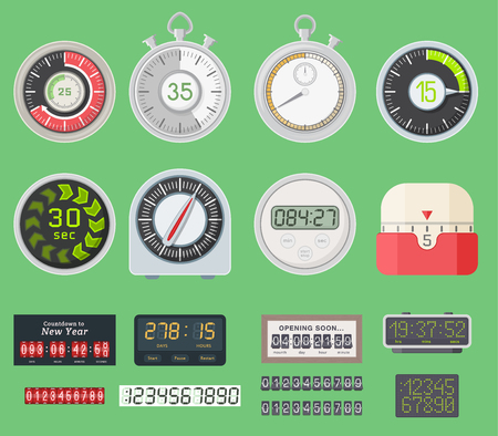 Timer vector clocks watch symbol hour stopwatch illustration. Kitchen timers sign minute second design alarm chronometer. Chronometer isolated sport time watch circle button timer clocks vector set