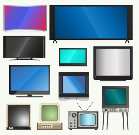 TV vector screen lcd monitor and notebook, tablet computer, retro templates. Electronic devices TV screens info-graphic. Technology digital device tv-screens, size diagonal display vector illustration.
