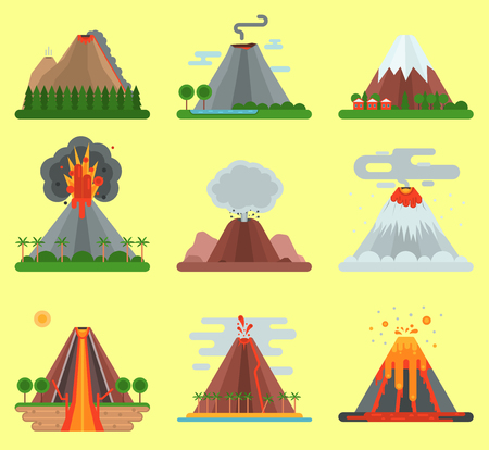 Volcano vector magma nature blowing up with smoke mountain isolated. Crater mountain volcano hot fire natural eruption nature. Volcano erupt ash fire hill landscape outdoor geology exploding ash