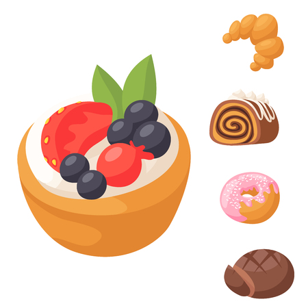 Cookie vector cakes tasty snack delicious chocolate homemade cookie pastry biscuit cakes sweet dessert bakery food illustration