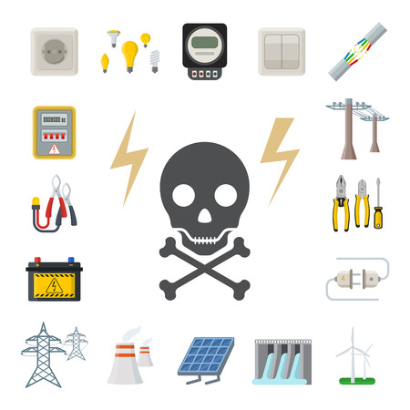 Energy electricity vector power icons battery illustration industrial electrician voltage electricity factory safety socket technology Stok Fotoğraf - 96121181