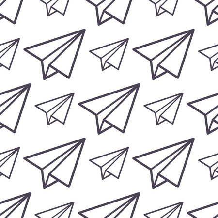 Paper plane vector icon seamless pattern business freedom concept background illustration fly paper plane isolated kids toy