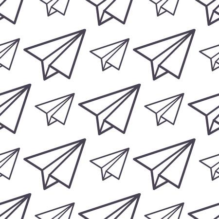 Papier vliegtuig vector pictogram naadloze patroon zakelijke vrijheid concept achtergrond illustratie vlieg papier vliegtuig geïsoleerd kinderen speelgoed