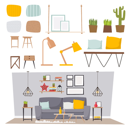 Furniture vector room interior design apartment home decor concept flat contemporary furniture architecture indoor elements illustration.  イラスト・ベクター素材