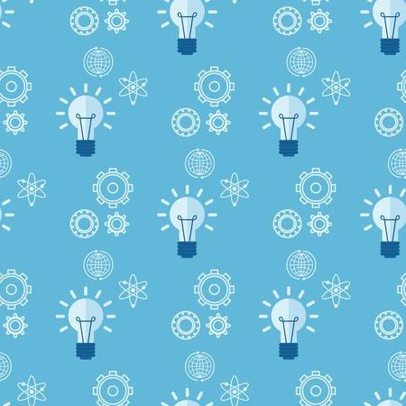 Cartoon lamps light bulb gear seamless pattern background design vector illustration brainstorm solution energy