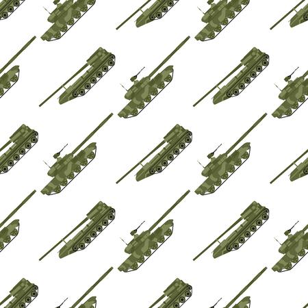 Militair transport techniek leger oorlog tanks industrie techniek pantser systeem gepantserd personeel camouflage naadloze patroon achtergrond vectorillustratie. Vector Illustratie
