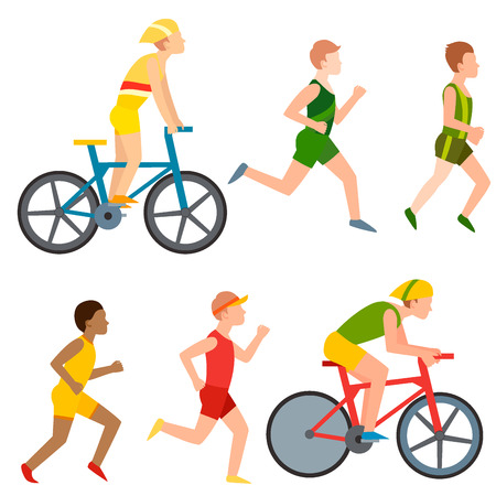 Racing vector bike people cyclist in action fast road biker man flat side front view illustration of cycling. Athlete sport competition motion summer running rider character.