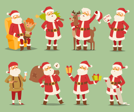 Christmas Santa Claus vector character on different poses illustration