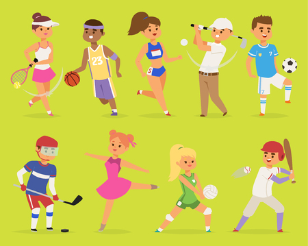 Sportsmen vector cartoon characters boy and girl people