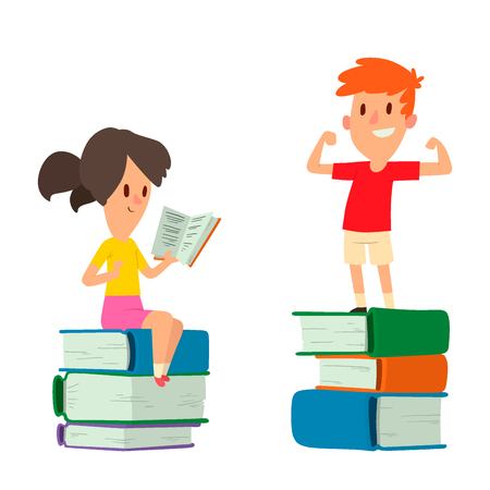 Children studying together vector illustration
