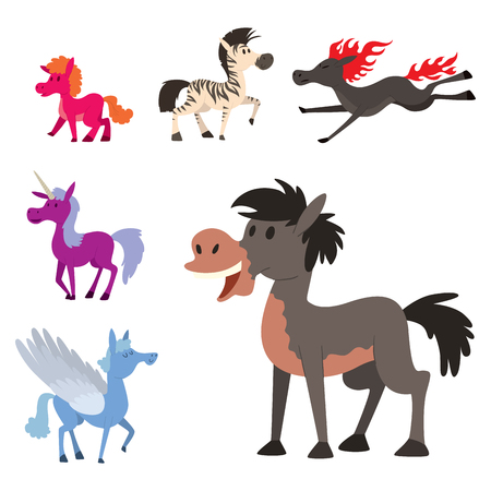 Horse pony stallion vector breeds with different color character illustration.