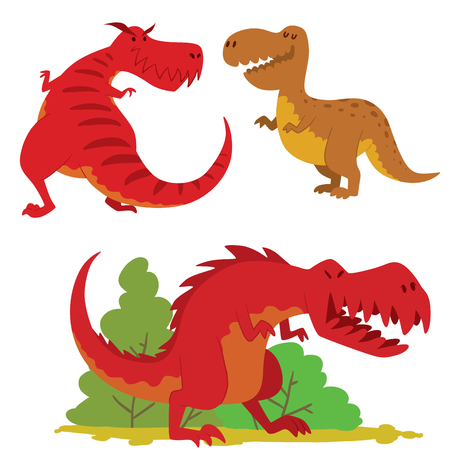 Dinosaurs vector dino animal tyrannosaurus t-rex danger creature force wild jurassic predator prehistoric extinct illustration.