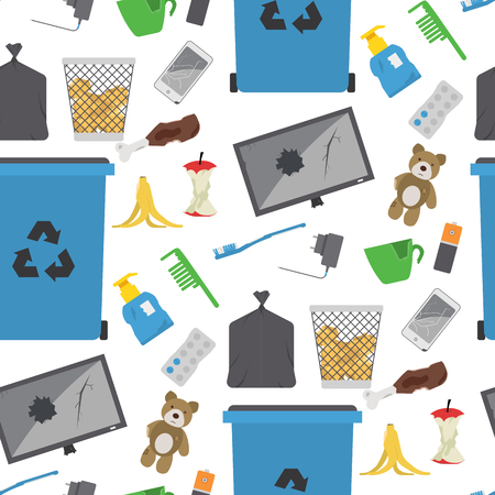 Recycling garbage vector trash bags tires management ecology industry garbage utilize concept waste sorting seamless pattern background illustration. Illustration