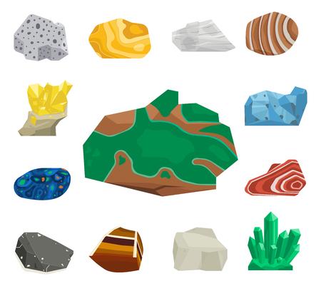 Piedras preciosas semipreciosas vector piedras y piedra mineral aislado dados colorido brillante cristal mineral joyería ilustración. Foto de archivo - 96439504