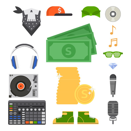 Hip hop man accessory musician vector accessories microphone break dance expressive rap modern young fashion person adult people illustration.  イラスト・ベクター素材