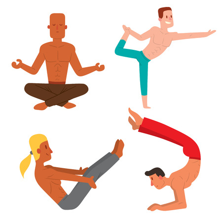 Yoga positions mans characters class vector illustration