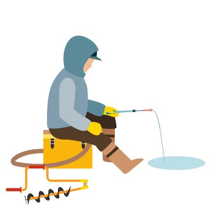 Fischenfischervektor fängt den Fischfischer, der Stange in Wasserfang warf und spinnt, Mann zieht Netz die Flusscharakter-Vektorillustration heraus Standard-Bild - 96142558