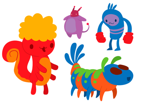 Monster character vector funny design element humour emoticon fantasy monsters unique expression crazy animals sticker illustration.