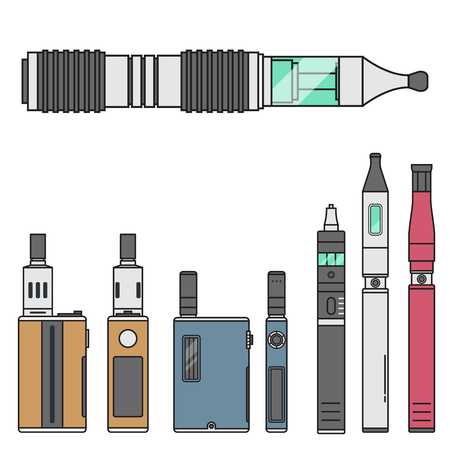 Vape device vector cigarette vaporizer vapor juice vape bottle flavor illustration battery coil electronic nicotine liquid smoking atomizer device e-liquid.