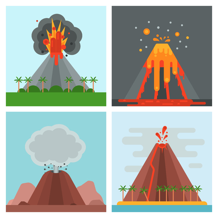 Volcano magma vector nature blowing up with smoke crater volcanic mountain hot natural eruption earthquake illustration. Ilustração