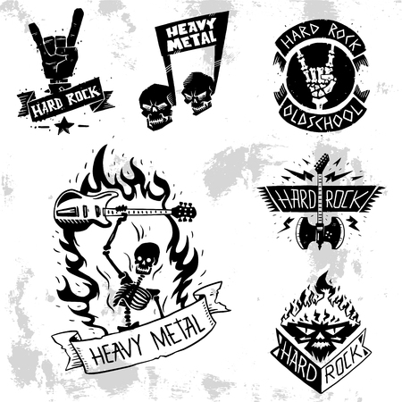 Heavy rock music vector badge