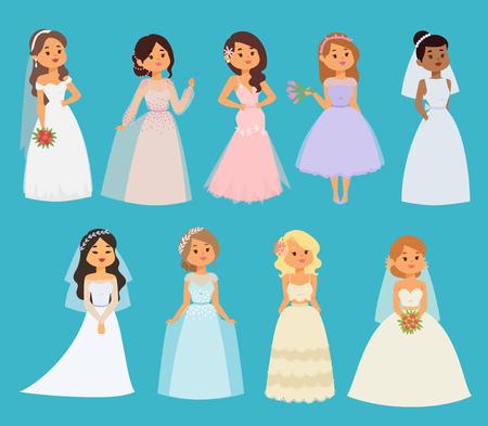 웨딩 신부 벡터 소녀 캐릭터 하얀 드레스 그림. 축 하 패션 여자 만화 소녀 하얀 드레스입니다. 로맨스 식 여자 드레스 결혼 사랑 아름 다운 신부