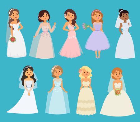 Wedding brides vector girl characters white dress illustration. Celebration fashion woman cartoon girl white dress. Romance ceremony woman dress marriage love beautiful bride