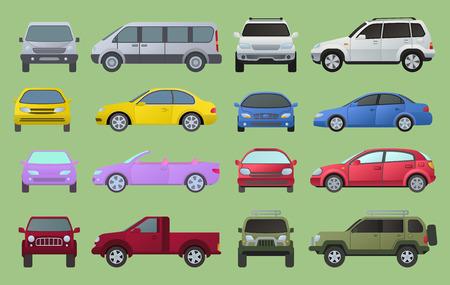 車の都市異なるモデルオブジェクトのアイコンは、多色自動車のスーパーカーを設定します。ホイールシンボルトップとフロントビューサイドカー