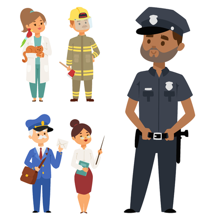 People different professions vector illustration. Success teamwork diversity human work lifestyle. Standing successful young professions person character in uniform