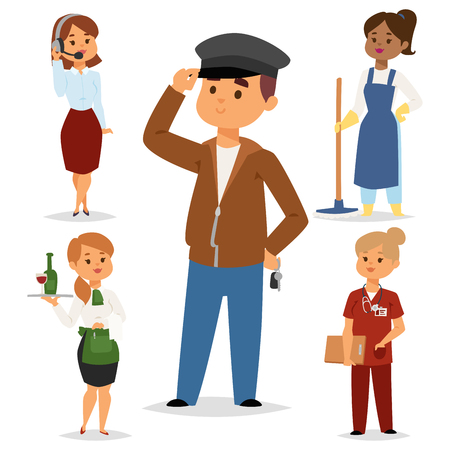 People part-time job professions vector set characters temporary job recruitment concept. Different workers or time unemployed. Young career start boys and girls part time workers opportunity looking