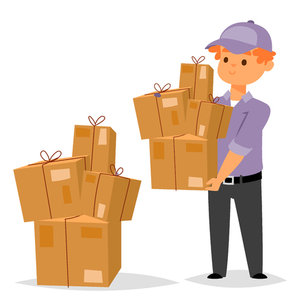 Delivery man boy vector service workers and clients couriers delivering man characters shop mailmen bringing packages holding boxes documents illustration.