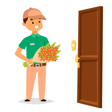 Delivery man boy vector service workers and clients couriers delivering man characters shop mailmen bringing packages holding boxes documents illustration. Postman worker male conveyance Stock Illustratie