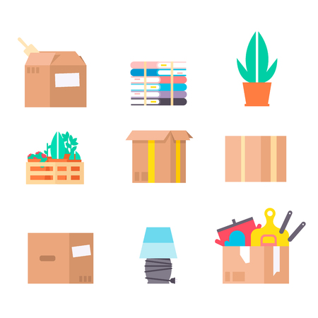 Move service box full vector illustration craft box pack isolated on background. New house relocation transportation package cargo service Иллюстрация
