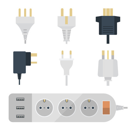 Electric plugs stack outlet illustration Vettoriali