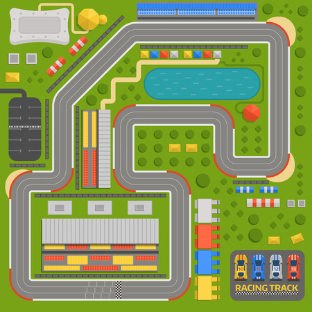 Race car sport track with curve road vector.