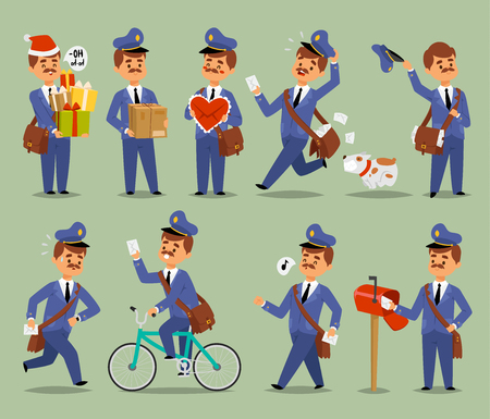 Postman cartoon man vector character courier occupation carrier. Cute mustache man uniform delivery mail letters package transportation postman. Mail business shipping man character message deliver. Archivio Fotografico - 96323484