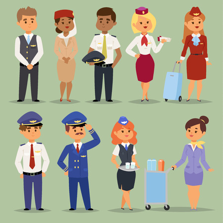 Officers flight pilots flight attendants vector people. Stewardesses and pilots flight attendants isolated pilot and air hostess flight attendant. Flight attendants captain professional male and female.