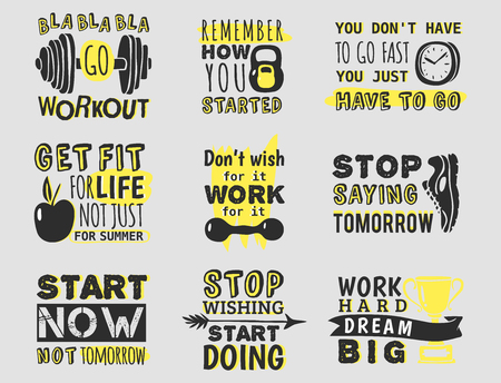 Sport motivational logo vector design set