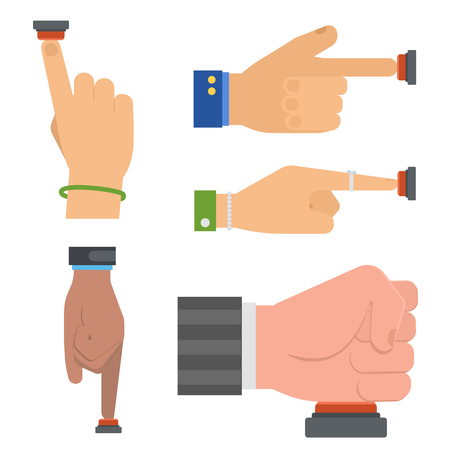Hand press red button vector set