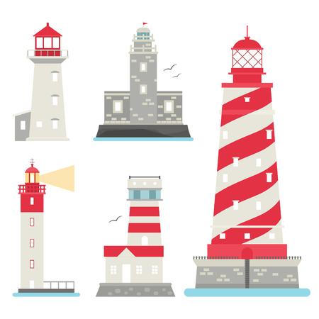 Lighthouses vector flat symbol illustration.