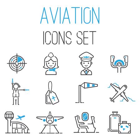 Aviation icons vector set  イラスト・ベクター素材